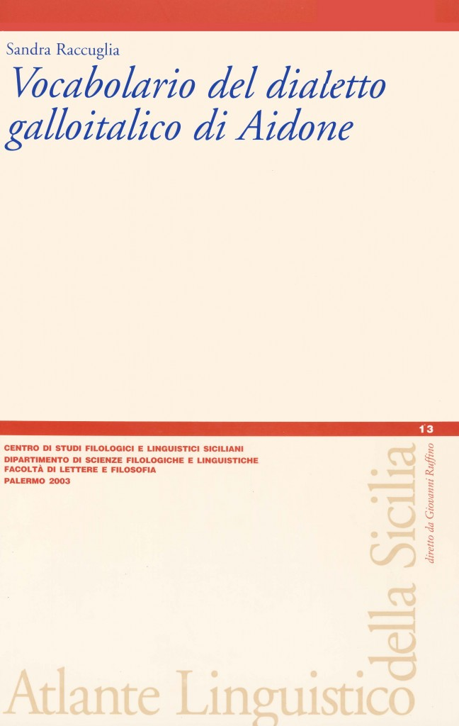 Book Cover: Vocabolario del dialetto galloitalico di Aidone