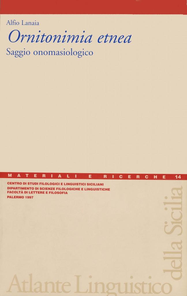 Book Cover: Ornitonimia etnea